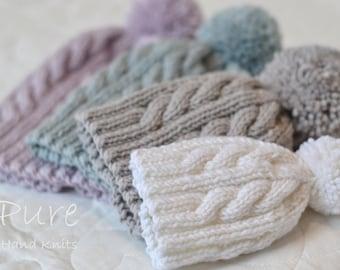 3b5b70ac33f0 Cabled pom pom hat knitting pattern Oscar newborn to adult