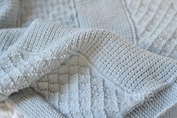 Simple Afghan Knitting Pattern Large For Your Sofa Or Small Etsy