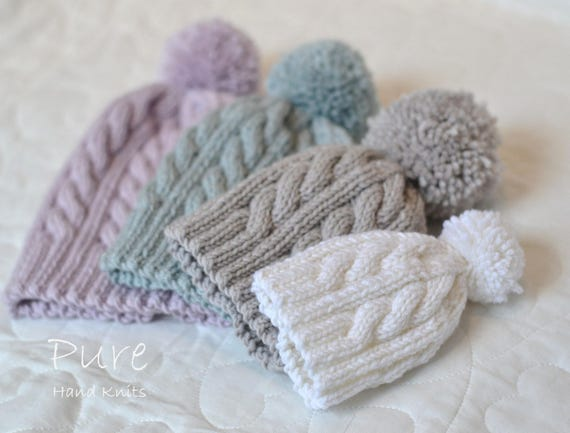 SIMPLE cabled bobble hat KNITTING PATTERN Oscar Newborn to  a81e837ee28