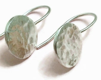 Small Hammered Silver Earrings - Small Hypoallergenic Earrings - Allergy Free Earrings - Argentium Silver Earrings - Small Simple Earrings