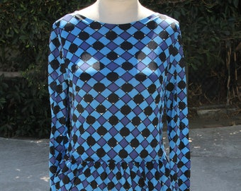 Vintage Boatneck Harlequin Dress
