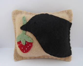Primitive Crow Pincushion Strawberry Felt Wool Needle Pin Keep Penny Rug