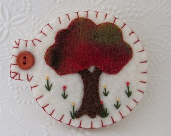 Needle Book Fall Tree Pins Sewing Case Penny Rug Wool