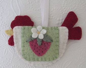 Rooster Ornament Strawberry Penny Rug  Wool Felt  Decoration