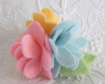 Felt Flower Brooch Wool Pin Felted Corsage Pink Yellow