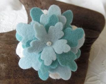 Felt Flower Pincushion Aqua Teal Blue Wool Felted pin Needle Keep