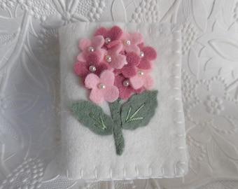 Hortensie Nadelfilz Buch Rosa wolle Pinkeep Nadel Fall