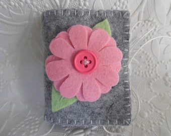 Pink Felt Flower Needle Book Wool Needle Case Pins Pinkeep