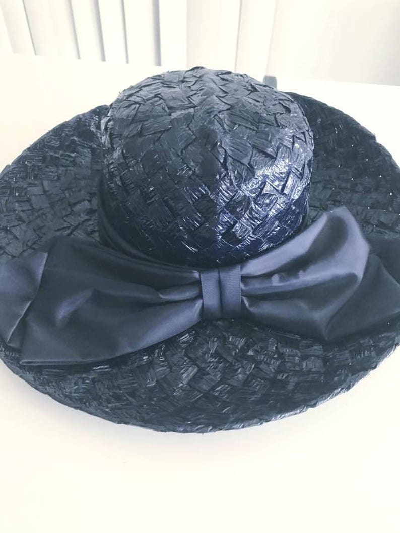 a06d41b6c9354 Fashioning Vintage Navy Woven Wide Brimmed Sun Hat Hat Late