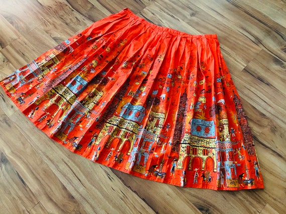 1950's Novelty Print Border Skirt in hard to find