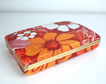 Groovy Vintage 60s Red & Orange Psychedelic Flower Power Earring Accessory Holder Case
