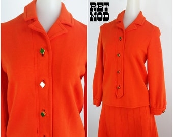 MOD Vintage 60s Orange Wool Skirt & Jacket Set Suit! Preppy and Twiggy Vibe!