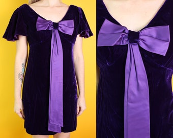 Precious Vintage 60s 70s Purple Velvet Mini Party Dress with Flutter Sleeves & Big Satin Bow