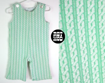 CHILD SIZE - Perfect Vintage 70s Mint Green & White Stripe Retro Jumpsuit Overalls One-Piece Romper Outfit