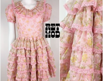 ABSOLUTELY ADORABLE Vintage 60s Pastel Pink Ruffle Cupcake Dolly Dress with Flower Pattern