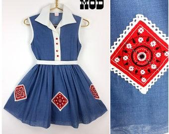 JUNIOR SIZE - Super Sassy Vintage 50s 60s Blue, Red & White Bandanna Style Appliqué Soft Cotton Day Dress