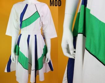 Unique Vintage 80s 90s Designer Cotton Set - Skirt & Top in White, Blue, and Green Color Block Pattern