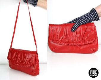 Vintage 80s Bright Red Leather Purse - Convertible to a Clutch!