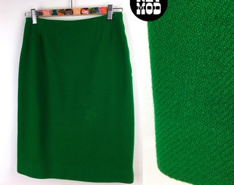 e3408c00d Fashionable Vintage 50s 60s Kelly Green Wool Skirt