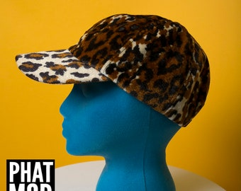 dc9c105dd2f Cool Vintage 80s 90s Leopard Print Velvet Baseball Cap Hat