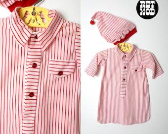 BABY SIZE - Adorable Vintage 70s Red   White Stripe Pajamas with Matching  Sleep Cap b69e83e20