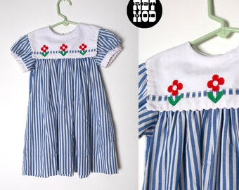 c88802ba467 KIDS SIZE - Sweet Vintage 80s Blue   White Stripe Dress with White Bib and  Red Floral Embroidery