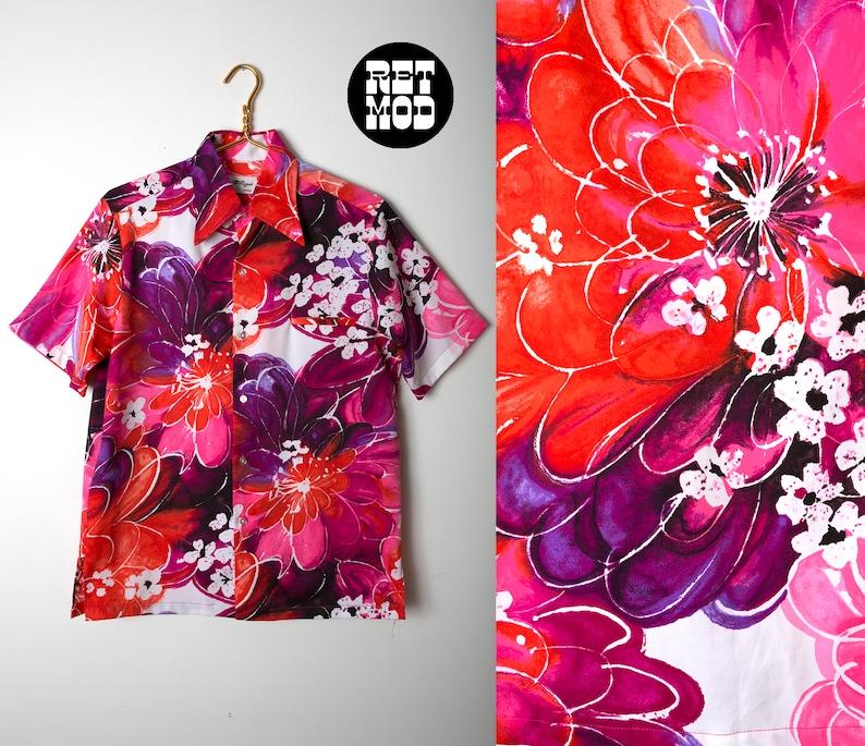 fc101e09ec4 Outrageous Vintage 70s Men s Bright Pink Floral Tropical