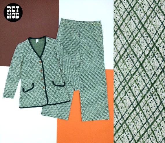Smart Vintage 70s Green Plaid Pants Suit with Trim - image 1