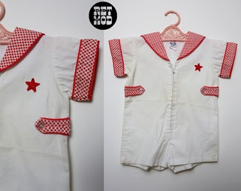 CHILD SIZE - Rock & Roll Vintage 70s Red and White Stars Jumpsuit Romper Playsuit for Kids