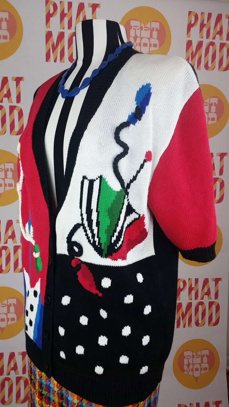 Incredible Pop Art Umbrella Red Black and Multicolor Novelty Print Sweater Cardigan!