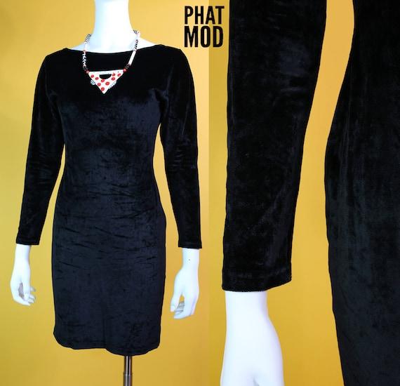 Vintage 90s Iconic Black Velvet Tight Long Sleeve Dress With Etsy