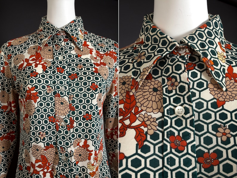 AS IS Vintage 70s Green Honeycomb Hexagon Floral Novelty Print Long Sleeve Pointed Collar Shirt