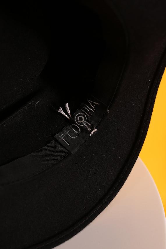 Cool Vintage 70s 80s Black Wool Felt Fedora Hippi… - image 8