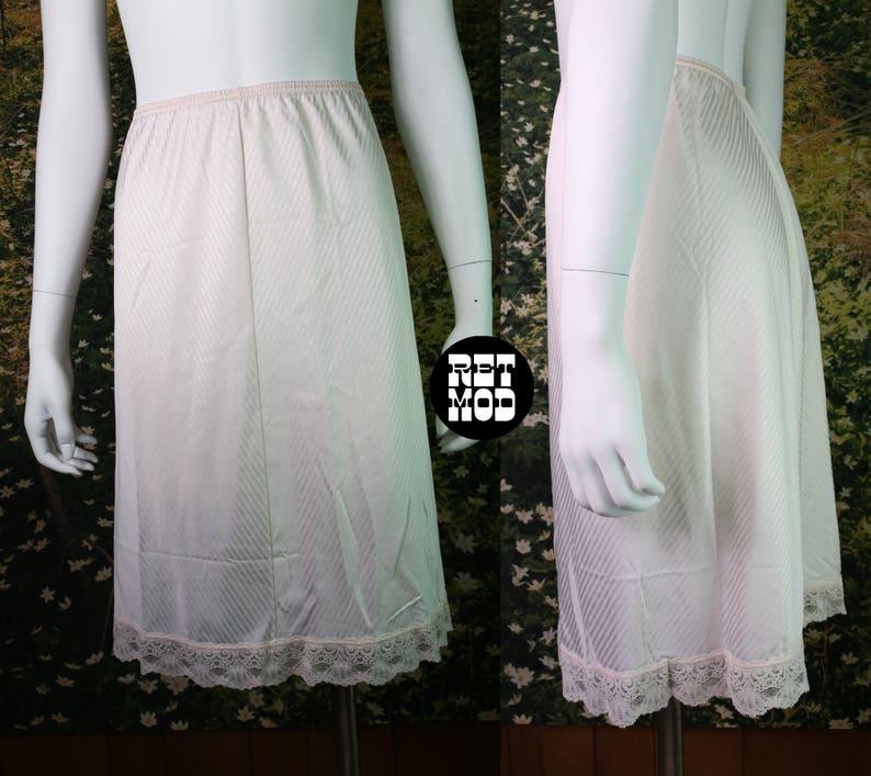 Vintage Pastel Pink Half Slip with Shiny Stripes by Vanity Fair