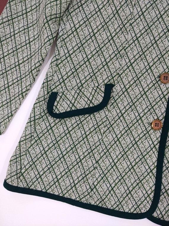 Smart Vintage 70s Green Plaid Pants Suit with Trim - image 5