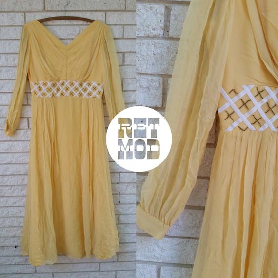 Creamy Dreamy Beautiful 50s Yellow Chiffon Dress -