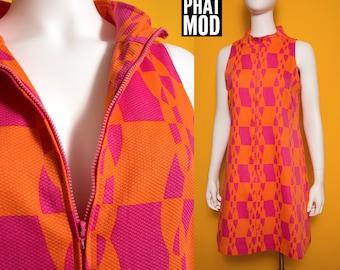 Groovy Vintage 90s does the 60s Mod Pink & Orange Op Art Go-Go Dress