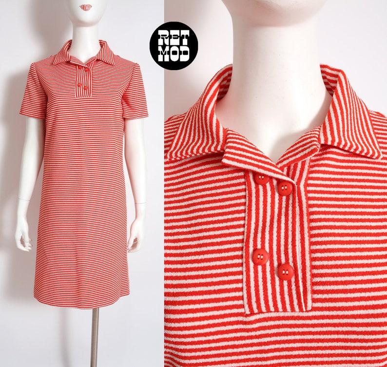 Cool Vintage 60s 70s Red White Stripe Poly Mod Dress