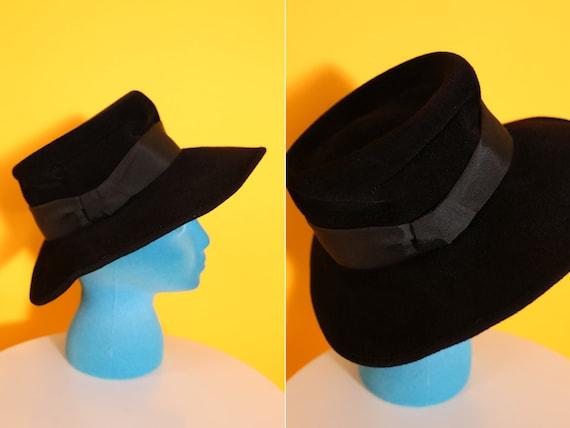 Cool Vintage 70s 80s Black Wool Felt Fedora Hippi… - image 3