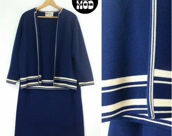 Smart Navy Blue and White Stripe Knit Skirt and Sweater Set - Vintage 60s Nautical Mod!