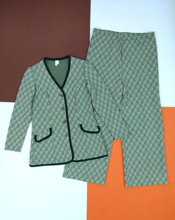 Smart Vintage 70s Green Plaid Pants Suit with Trim - image 2