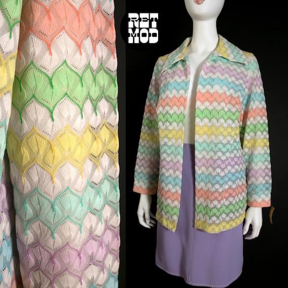 Pretty Vintage 60s 70s Pastel Rainbow Crochet Wove