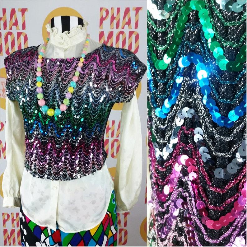 17a33cff5b11 Sparkly Vintage 90s Rainbow Sequin Zig Zag Pattern Disco Crop | Etsy