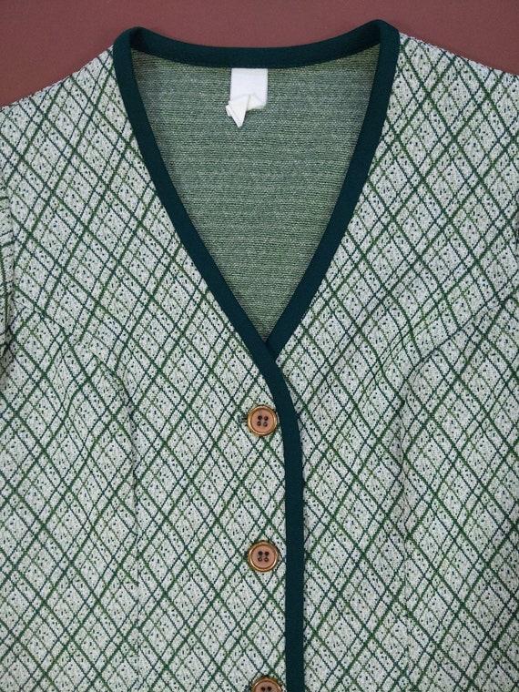 Smart Vintage 70s Green Plaid Pants Suit with Trim - image 4