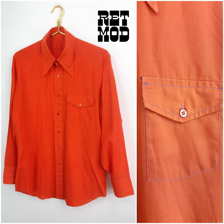 À manches longues bouton Vintage des années pour 70 Orange pour années homme bas chemise cool avec coutures bleu clair! 37ba87