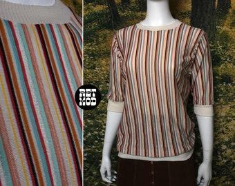 Vintage 70s Brown, Blue, Rust, Cream Stripe T-Shirt Shirt Jersey Hippie Top