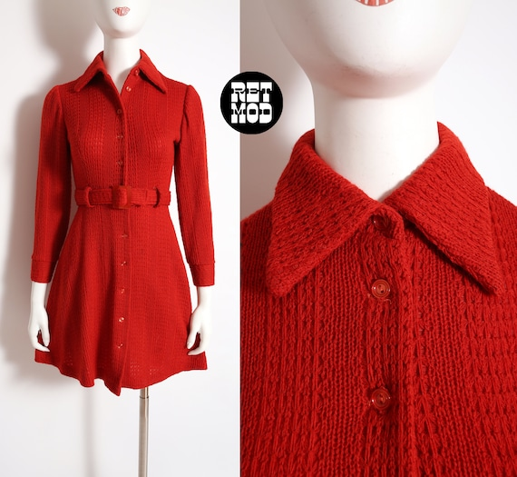 Fabulous Vintage 60s 70s Rust Knit Dress with Dagg