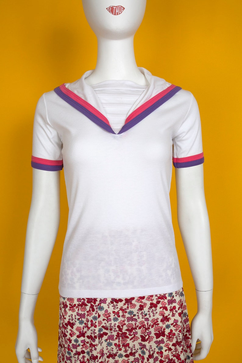 Pink Purple Stripe Nautical Style T-Shirt Top with Original Store Tags Cute Vintage 70s 80s White