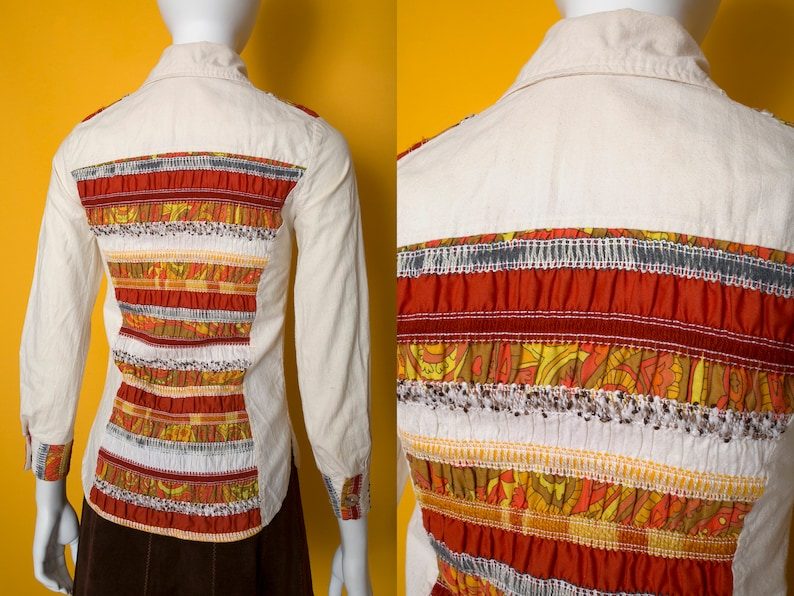 Super Cool Vintage 70s Unbleached Cotton Button Down Hippie Blouse with Orange Psychedelic Smocking Details