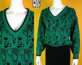 Funky 80s Green & Black Geometric V-Neck Long Sleeve Sweater